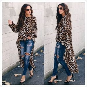 Leopard Dramatic Statement Long Sleeve Top